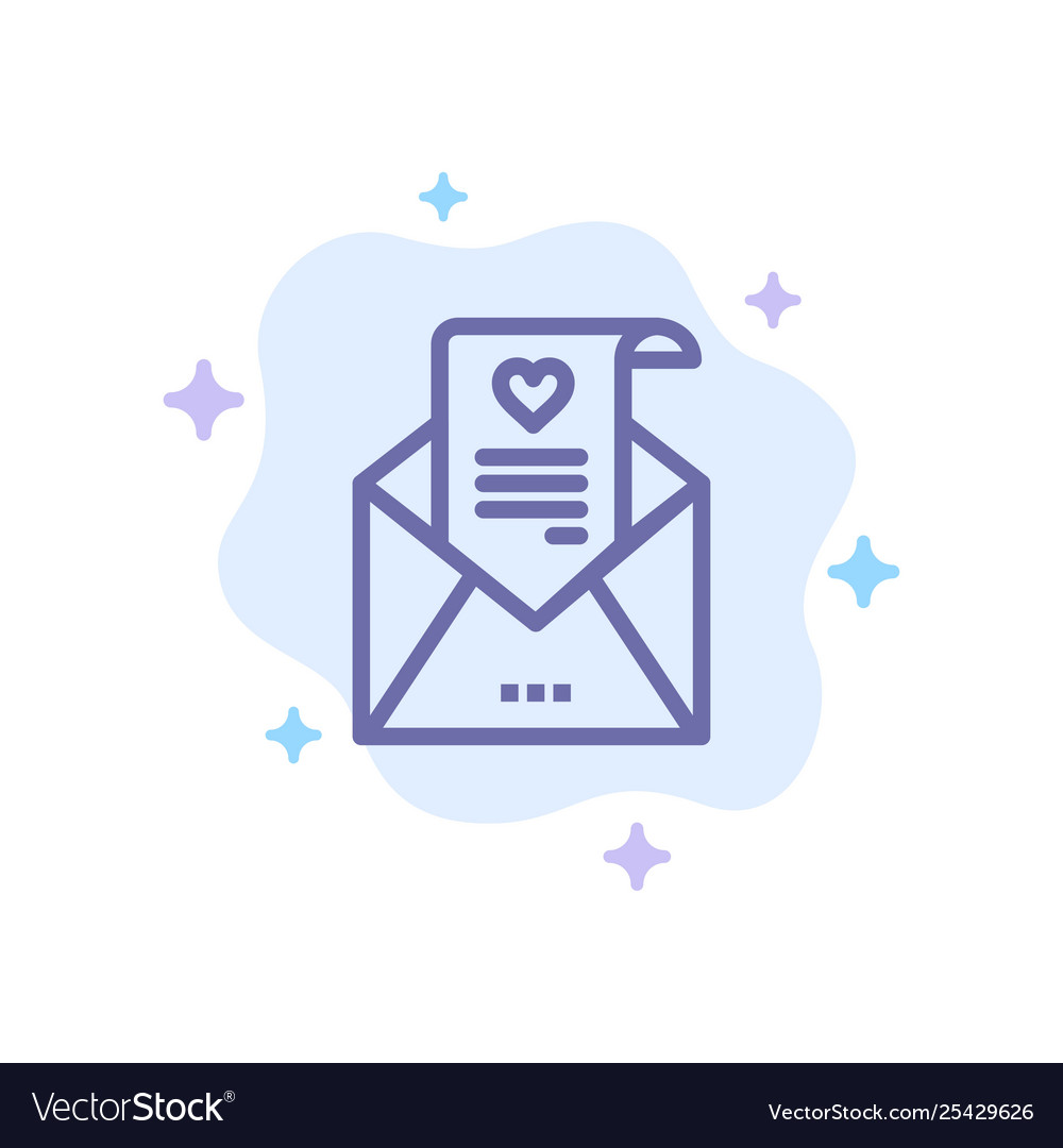 Mail love letter proposal wedding card blue icon