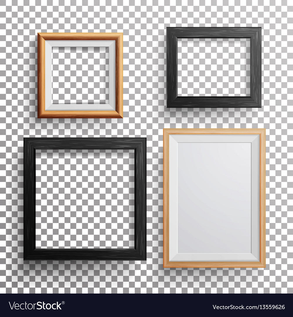 Realistic photo frame 3d set square a3 Royalty Free Vector