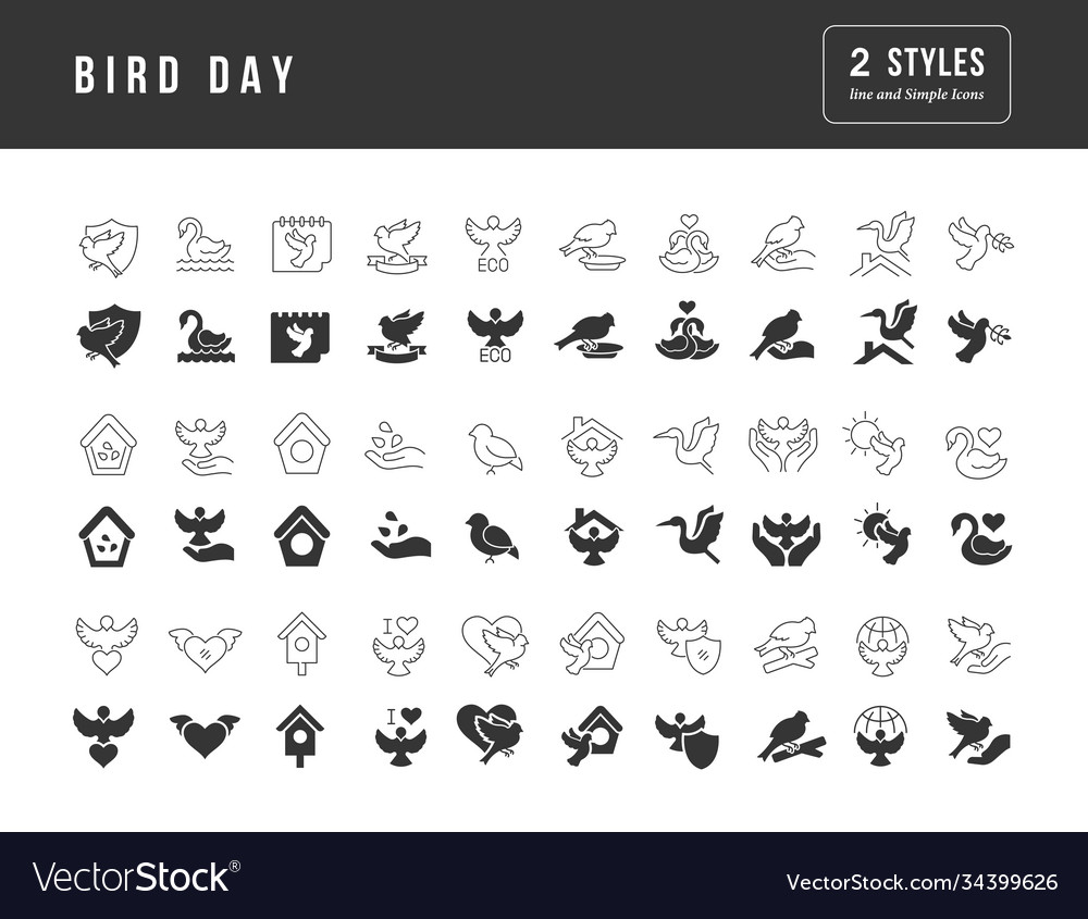 Simple icons bird day