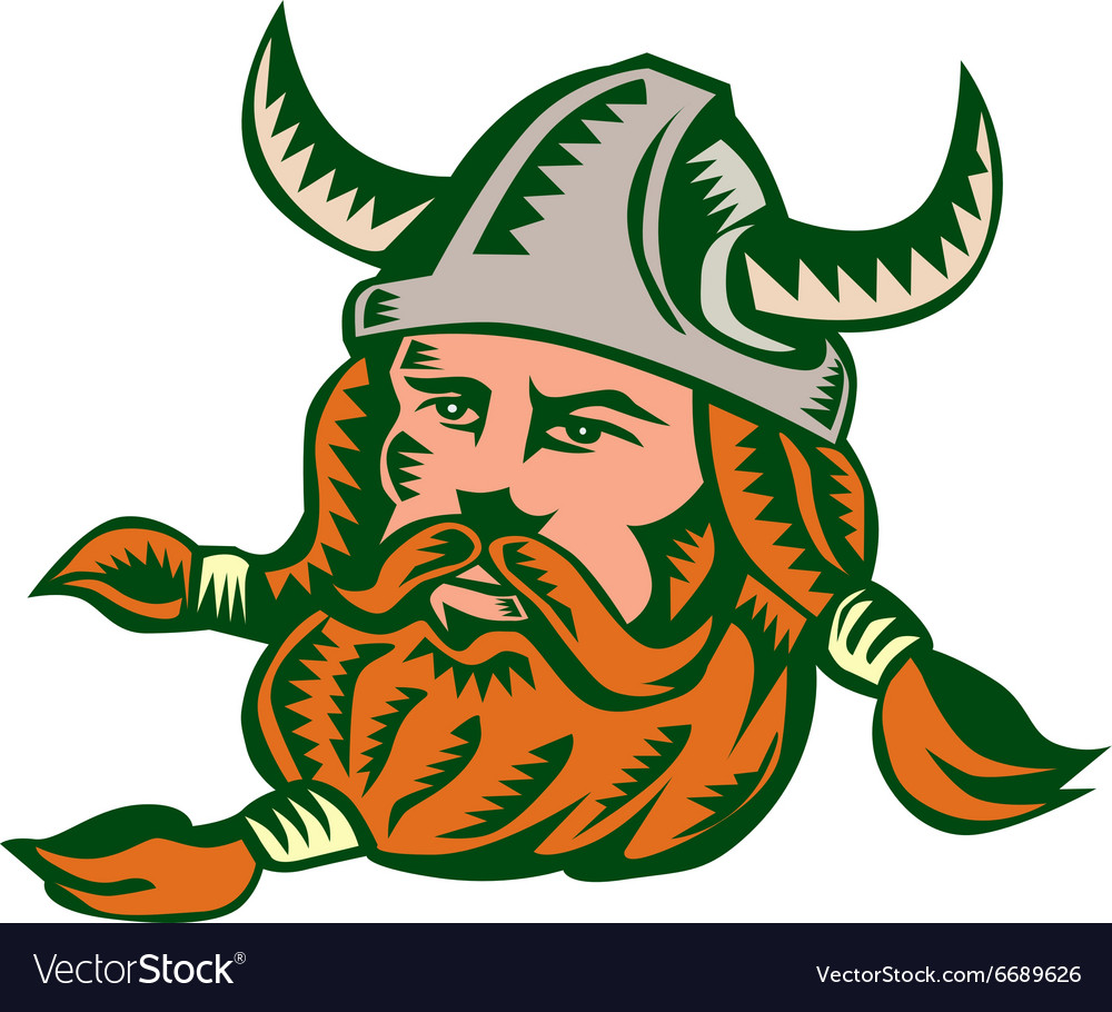 Viking Warrior Head Woodcut vector image