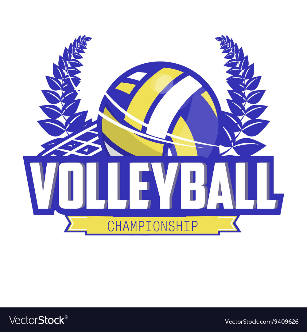 Volleyball Championship Logo With Ball Royalty Free Vector