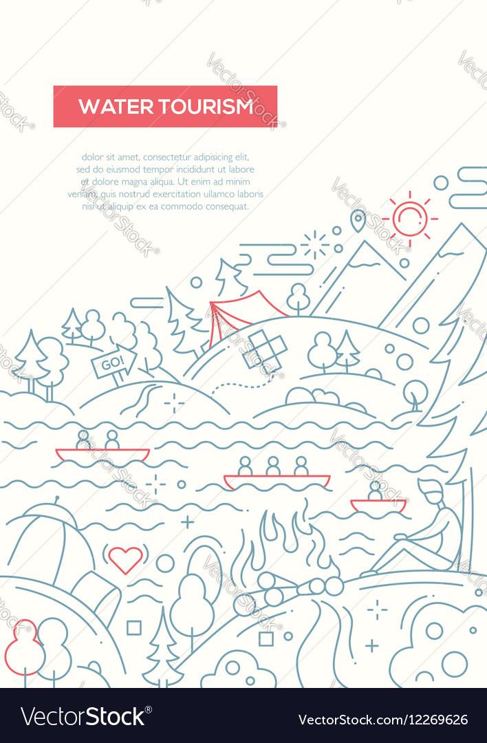 Water Tourism - line design brochure poster