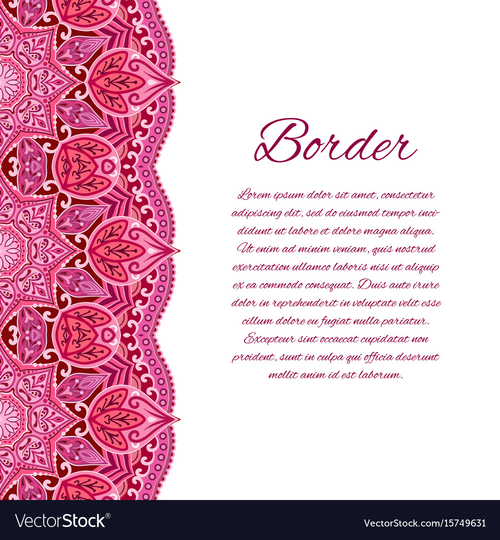 Card with mandala border card or invitation red