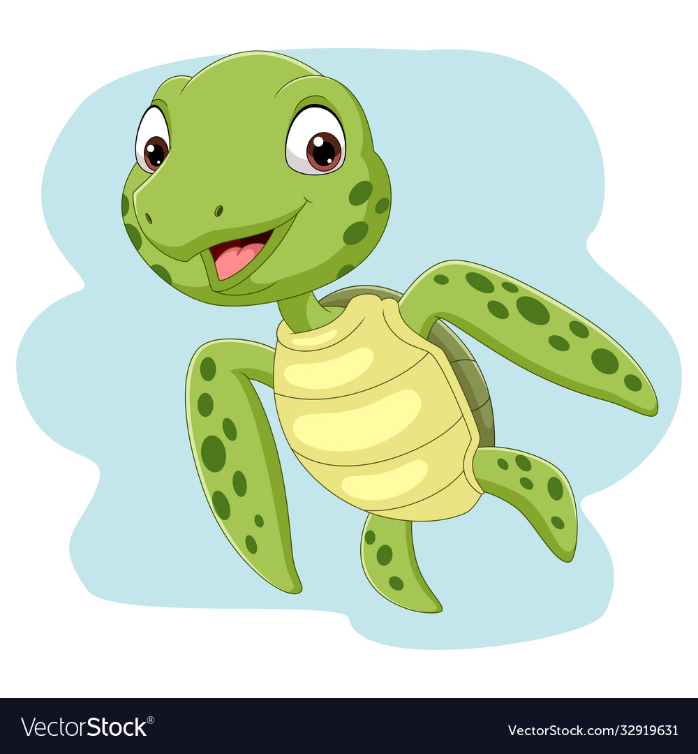Cartoon sea turtle swimming in ocean