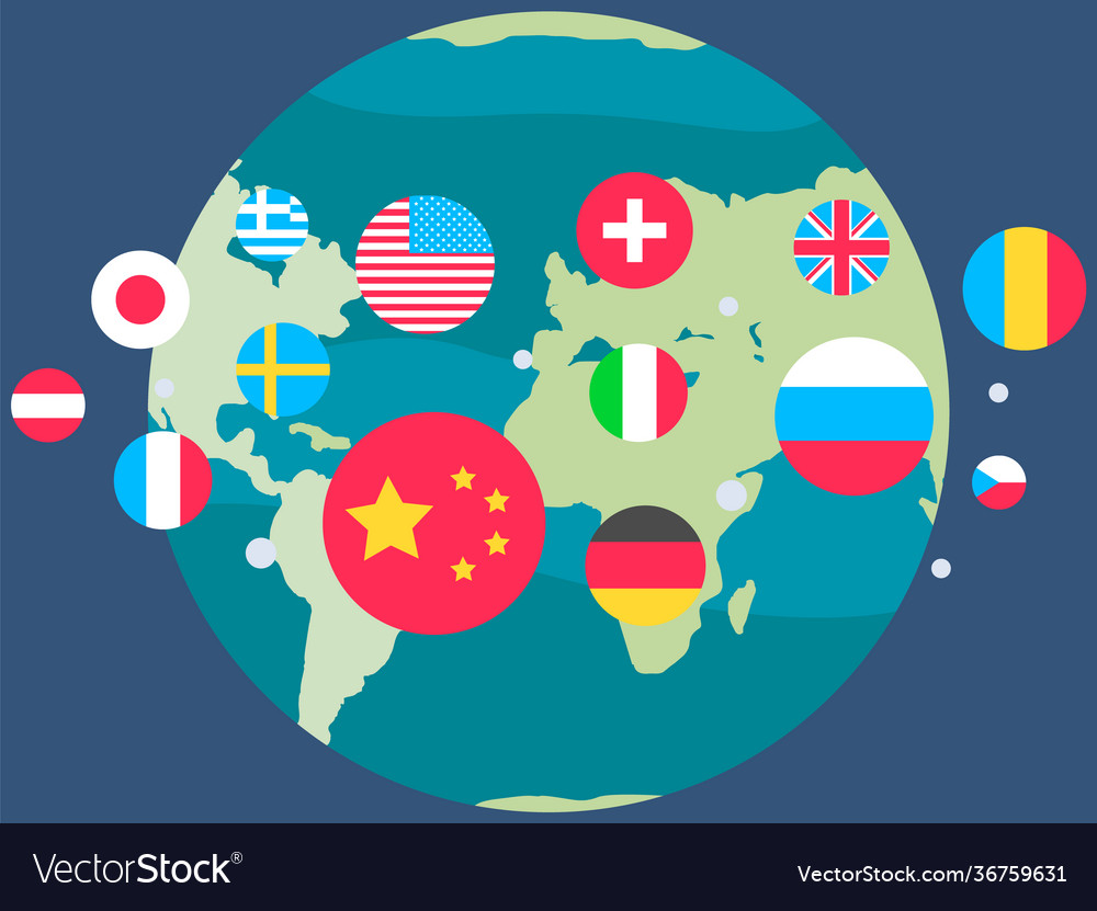 Globe with flags world planet earth surrounded
