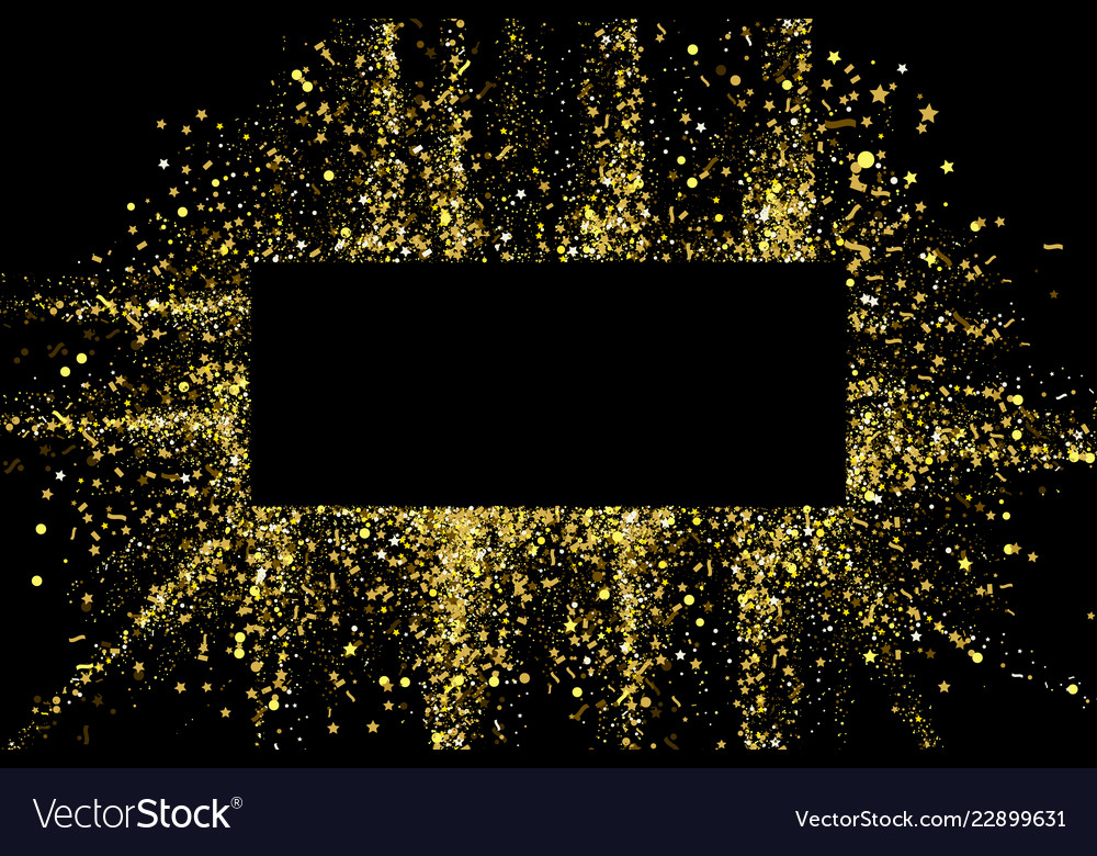 Gold glitter party confetti texture banner frame