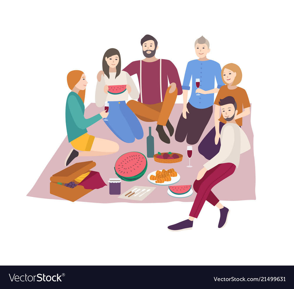 Happy friends having dinner outdoor isolated on