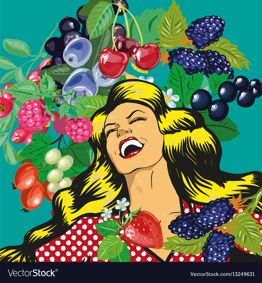 Happy woman with berries background