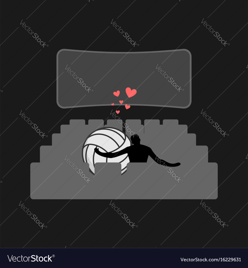 Lover Volleyball Guy And Ball In Movie Theater Vector Image