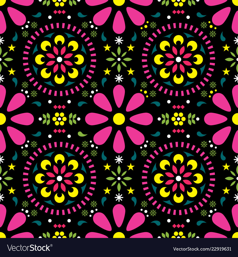 Mexican floral seamless pattern - folk art