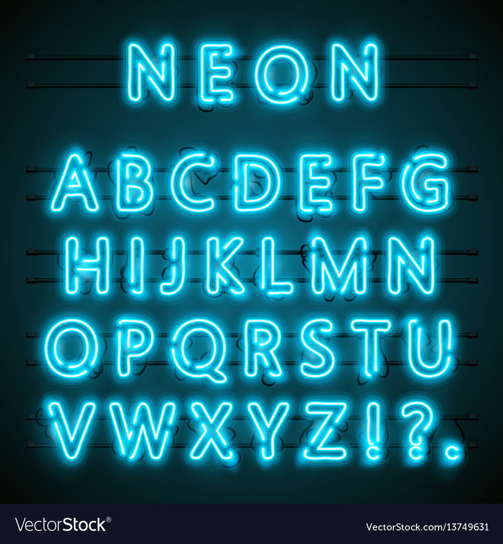 Neon font text blue english lamp alphabet