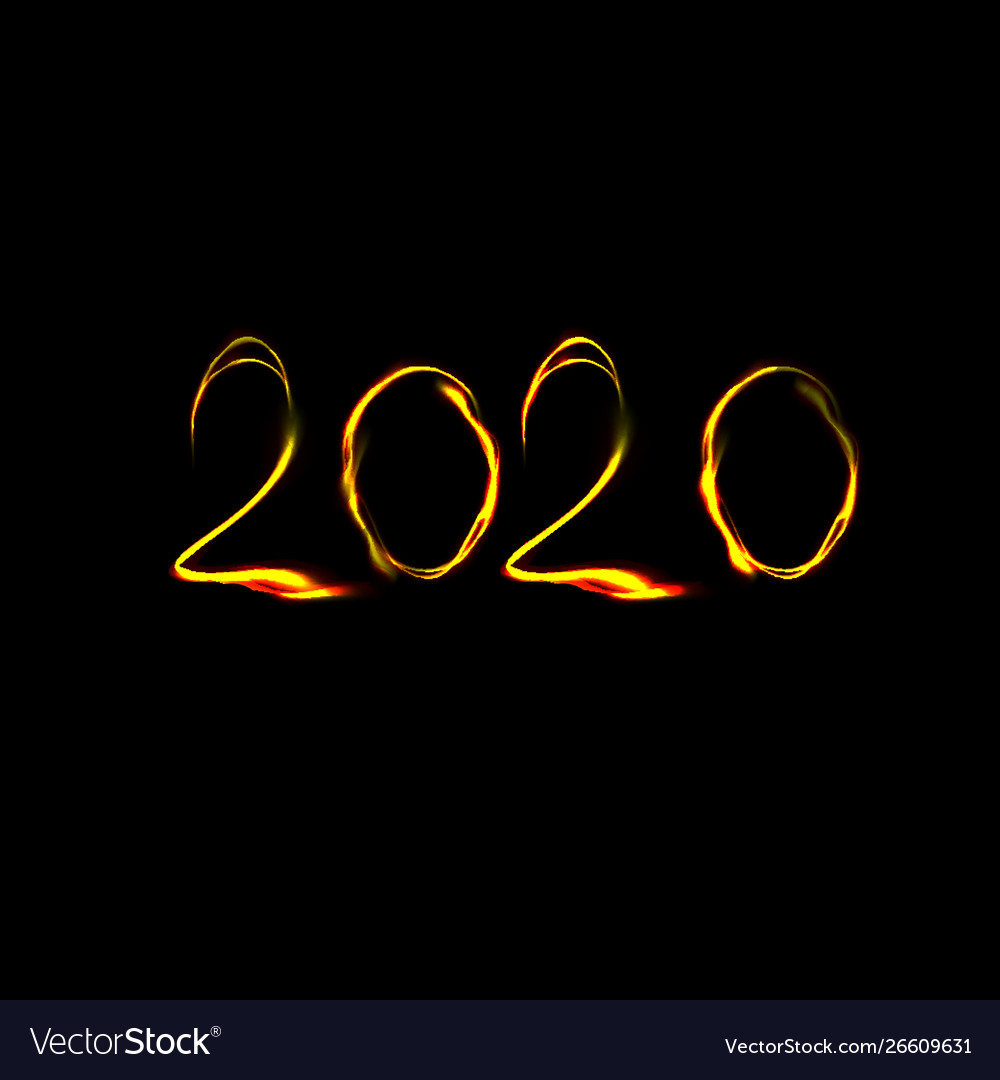 New year 2020 numbers in fire style