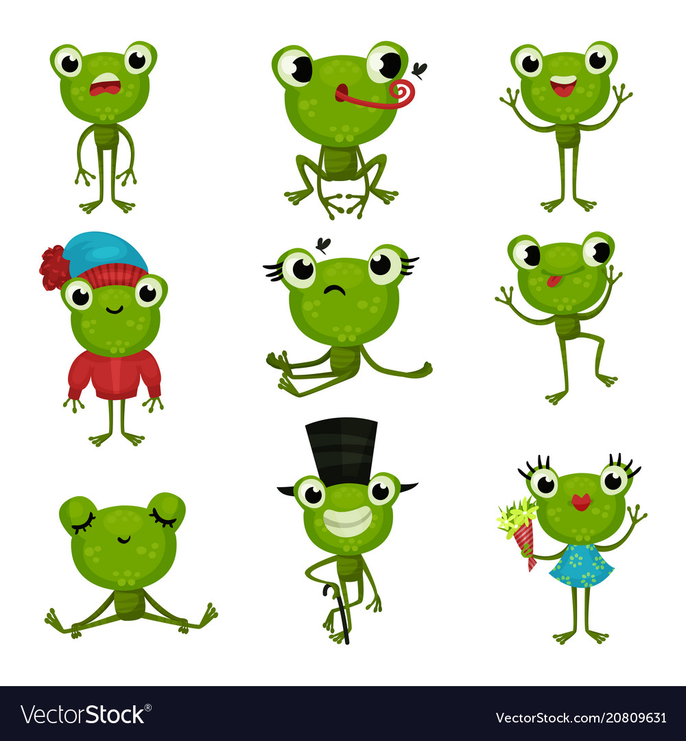 Set of green frogs in different poses and with