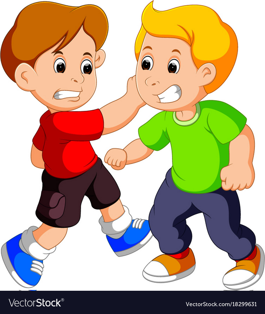 Two Young Boys Fighting Royalty Free Vector Image