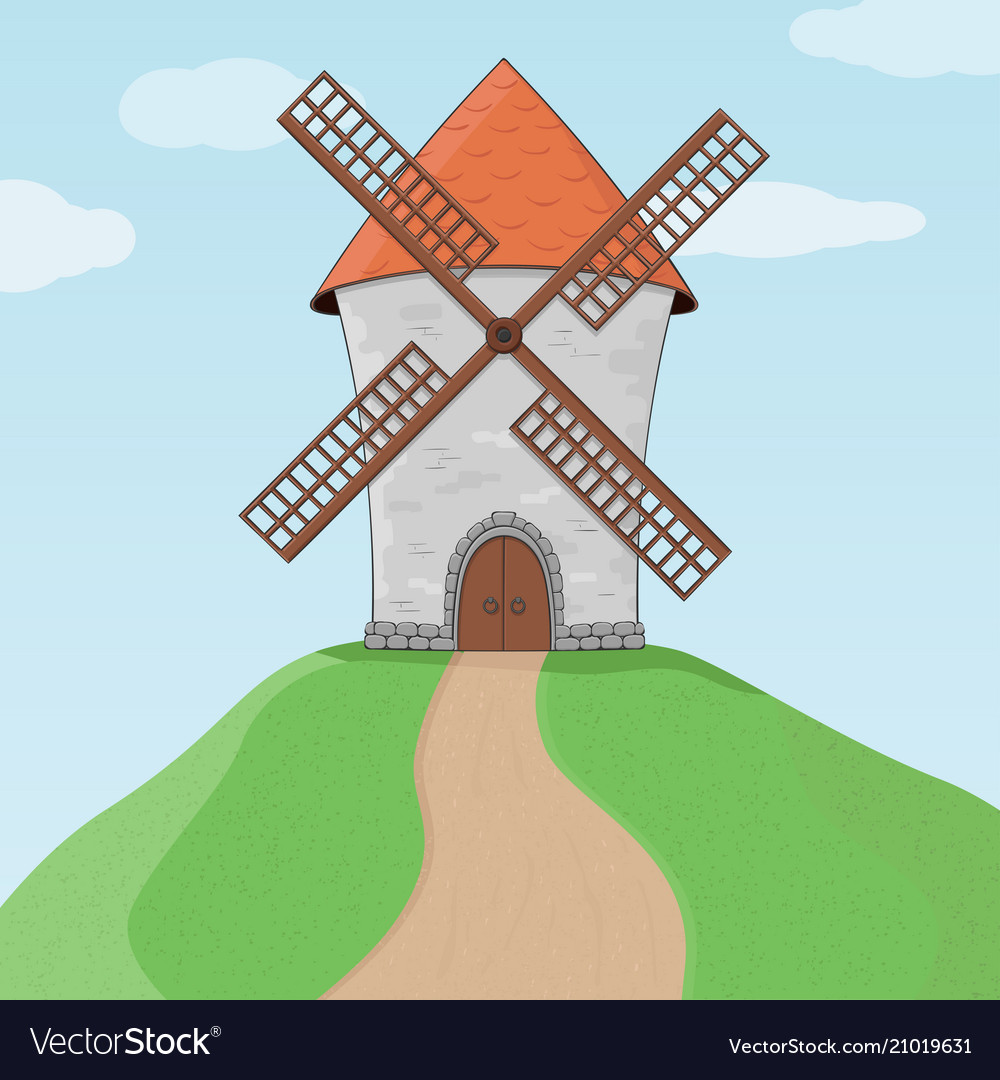 Windmill on a hill and blue sky colored doodle