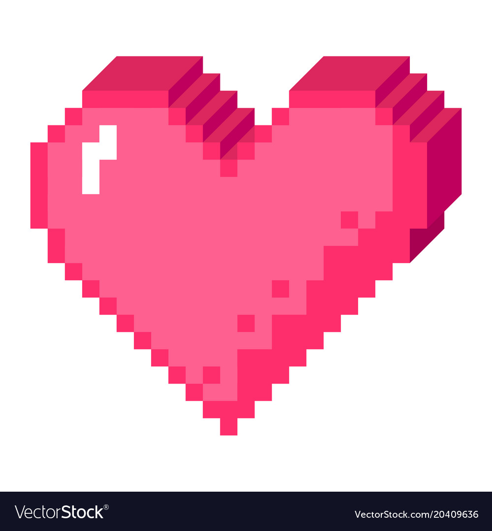 3d Pixel Heart Icon Royalty Free Vector Image Vectorstock