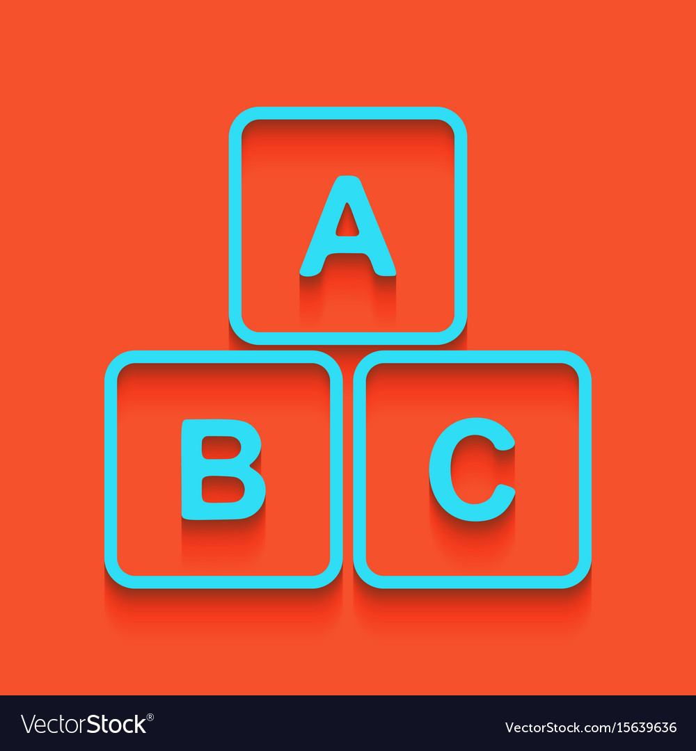 Abc cube sign whitish icon