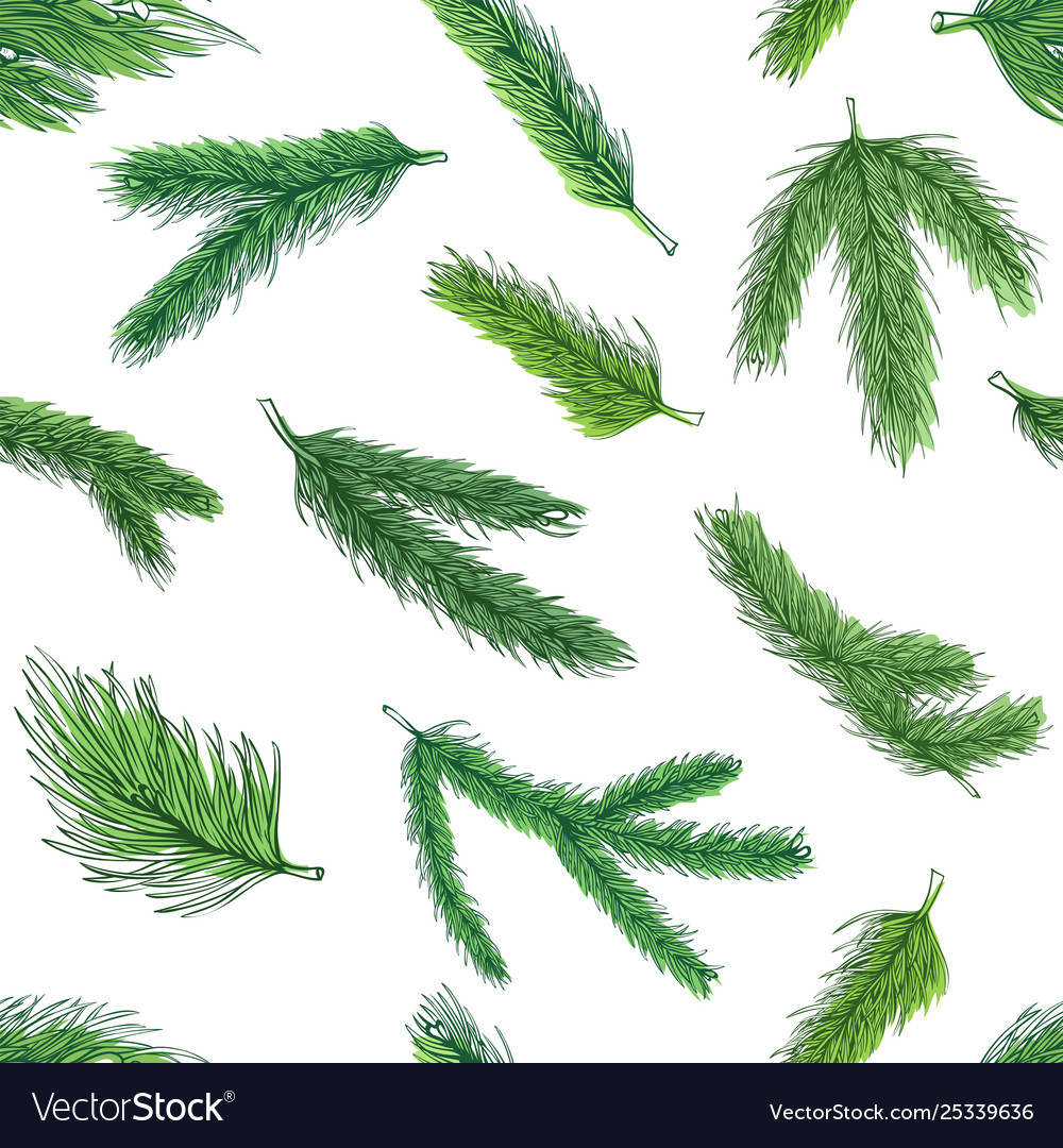 Christmas green tree branches pattern decorative