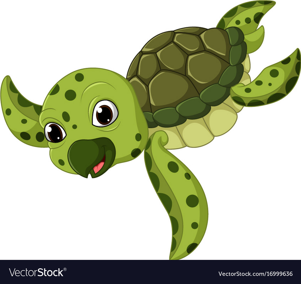 Cute Sea Turtle Cartoon Royalty Free Vector Image
