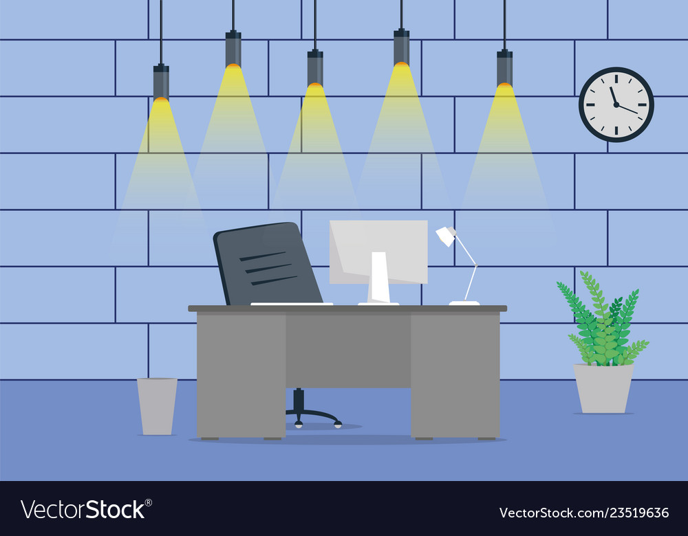 Design of a modern office workplace design with a