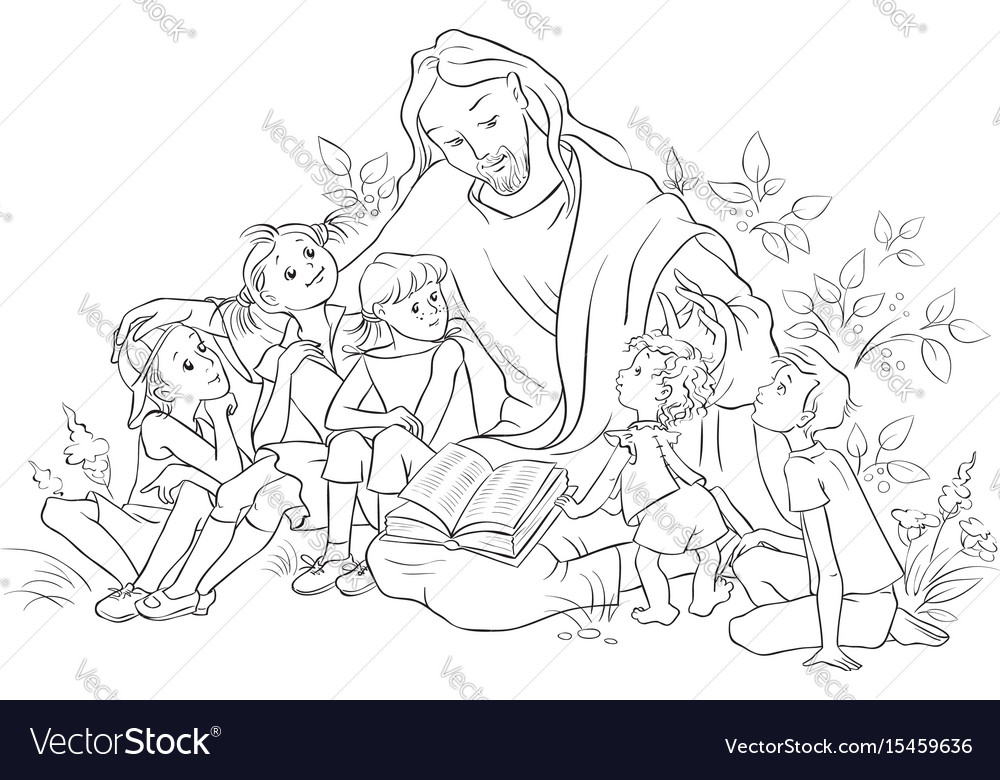 Jesus Reading Bible To Children Coloring Page Vector Image