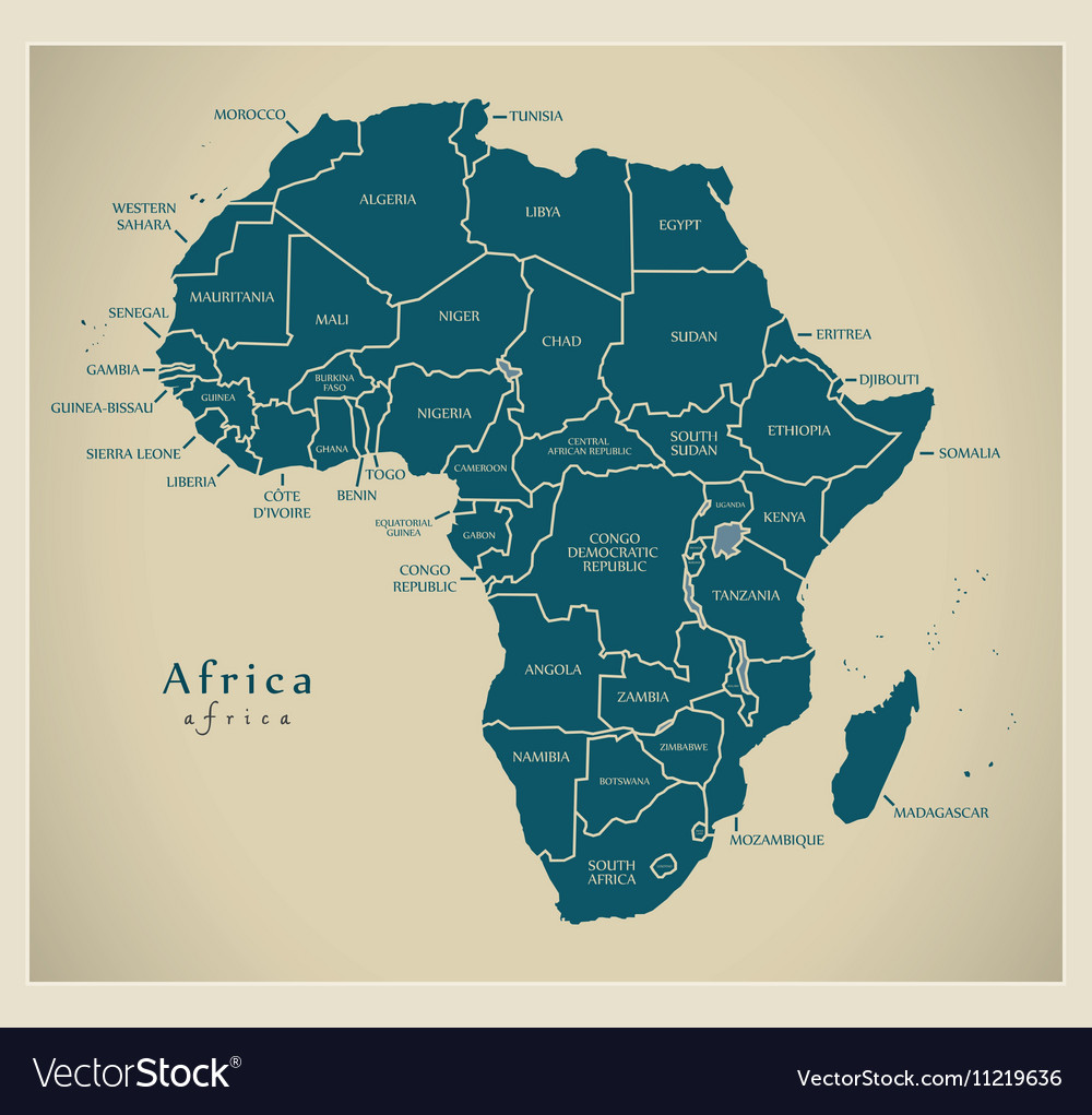 World Map With Country Labels.Modern Map Africa Continent With Country Labels Vector Image