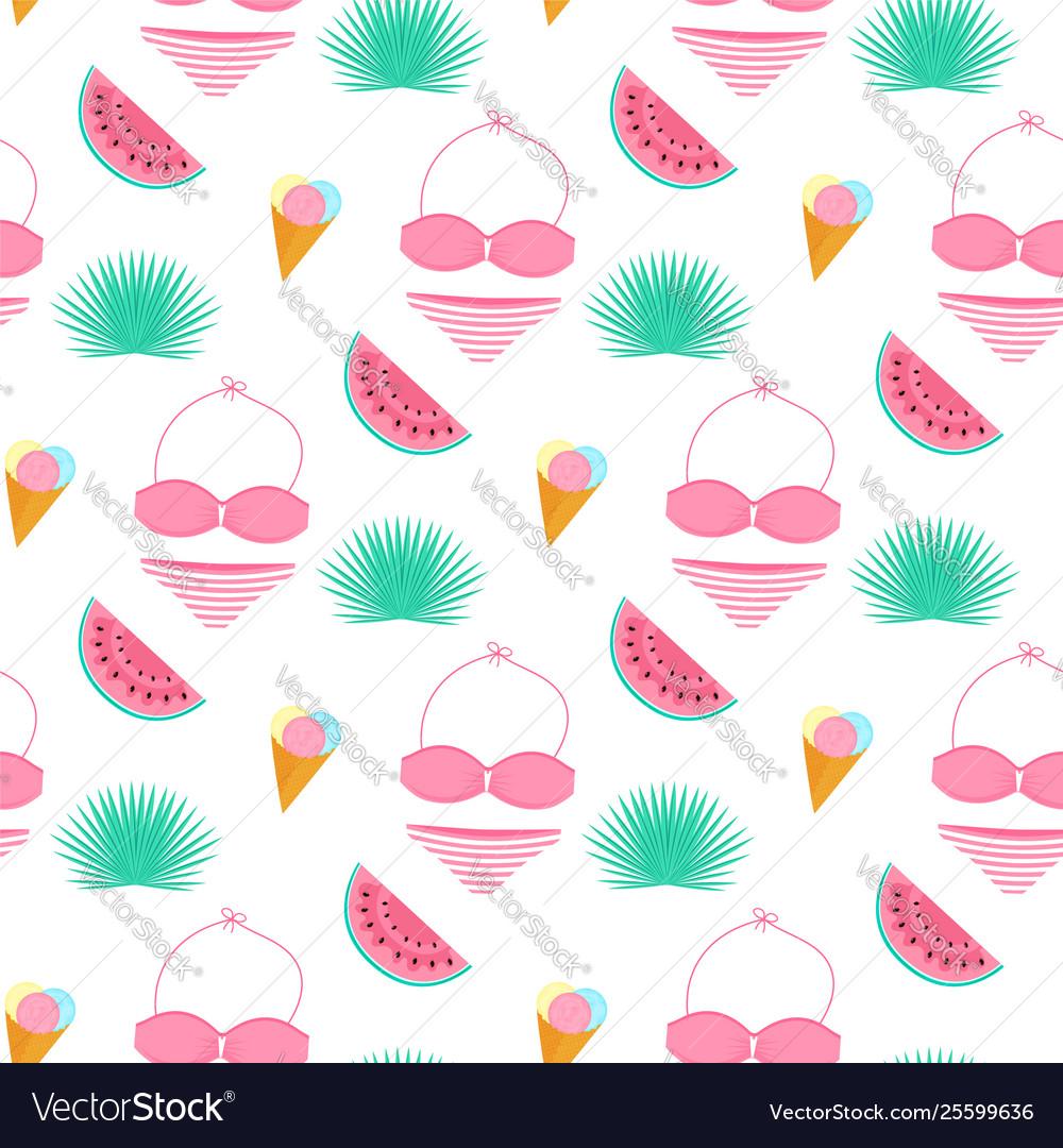 Palm leaf ice cream swimsuit watermelon summer