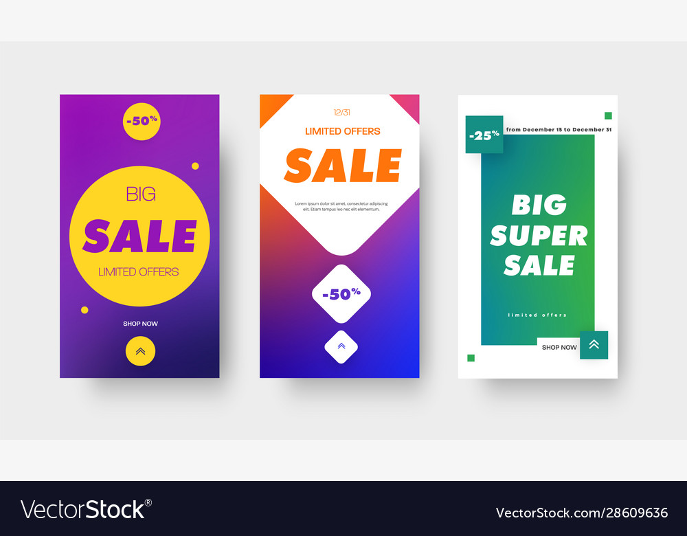 Set color gradient banners with square circle