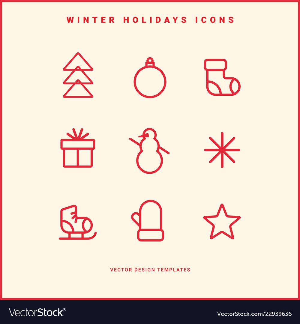 Set of winter holidays icons