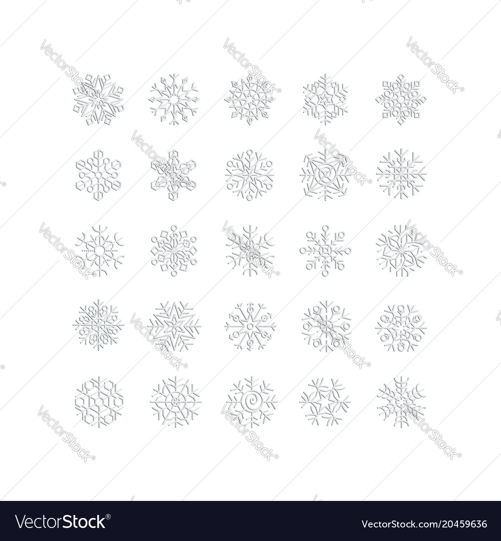 Silver snowflakes line icons on white background