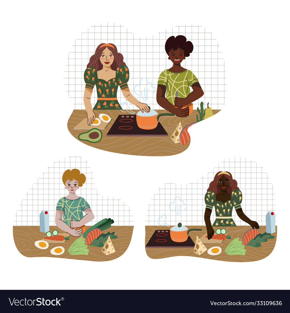 Young people prepare food in kitchen from