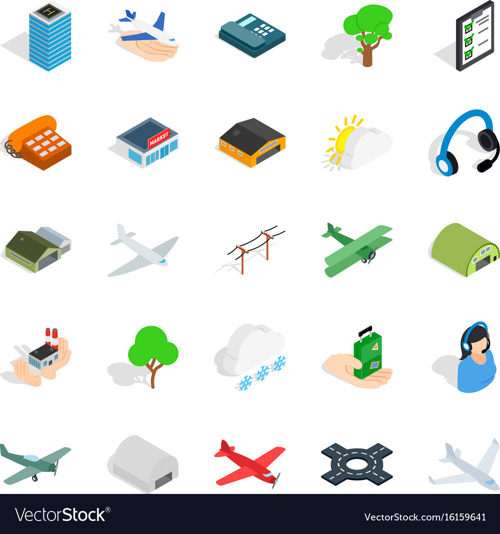Arrival icons set isometric style