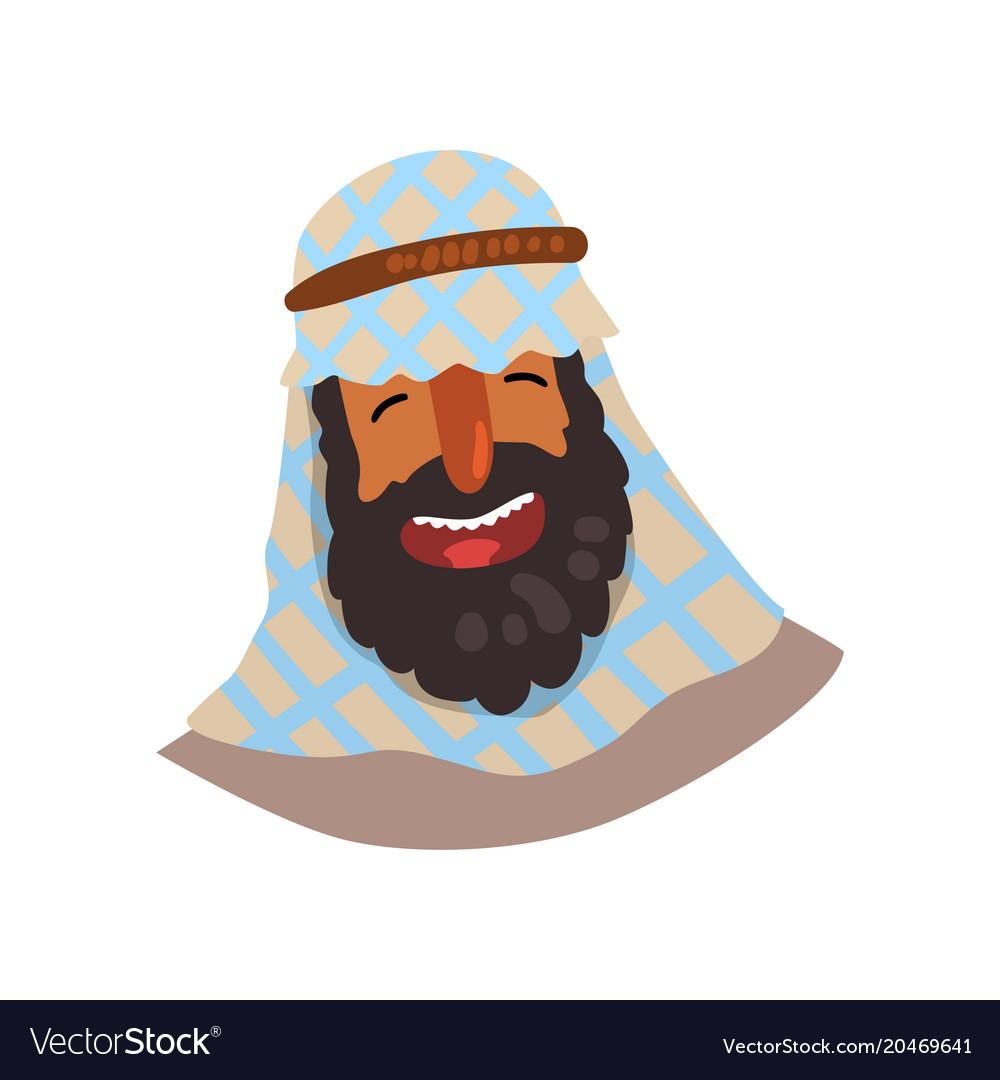 Cheerful egyptian man in keffiyeh cartoon