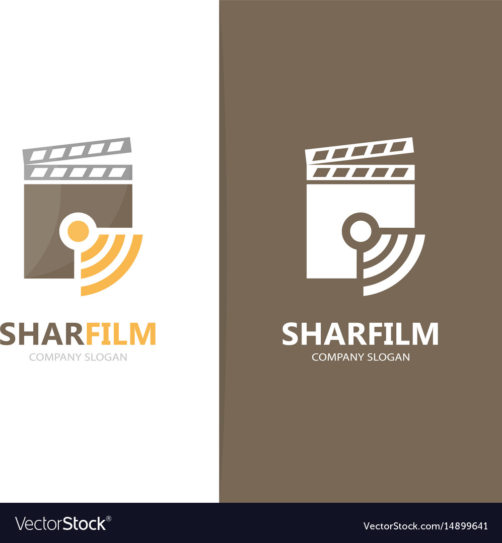 Clapperboard and wifi logo combination vector image