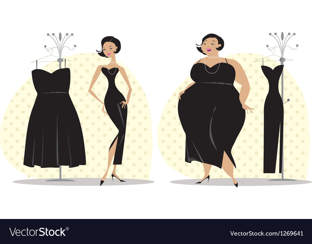 Dieting lady fitting a dress