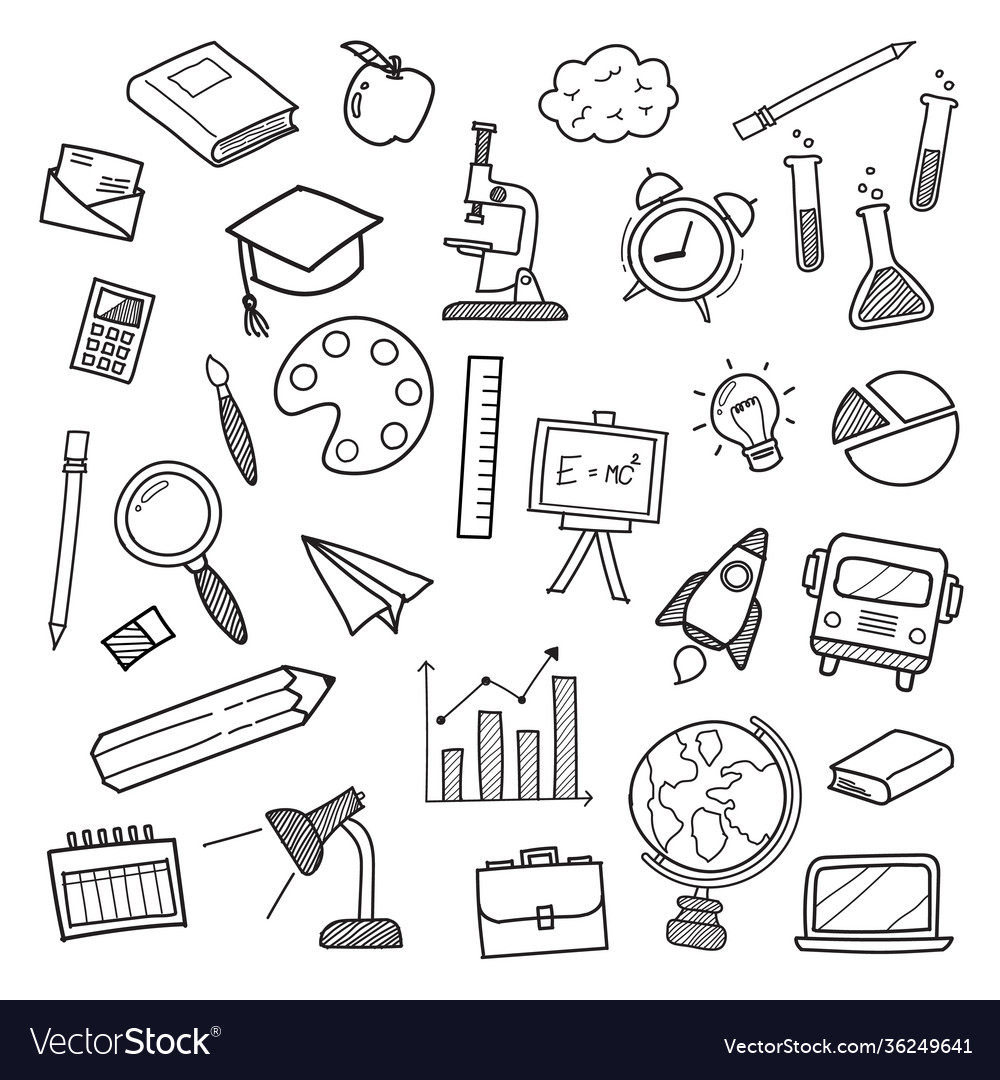 Education icons doodle hand drawn