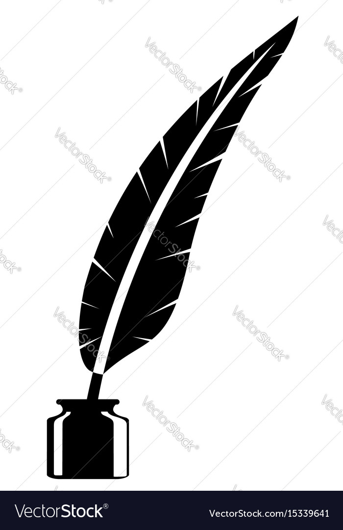 Feather and inkwell old retro vintage icon stock