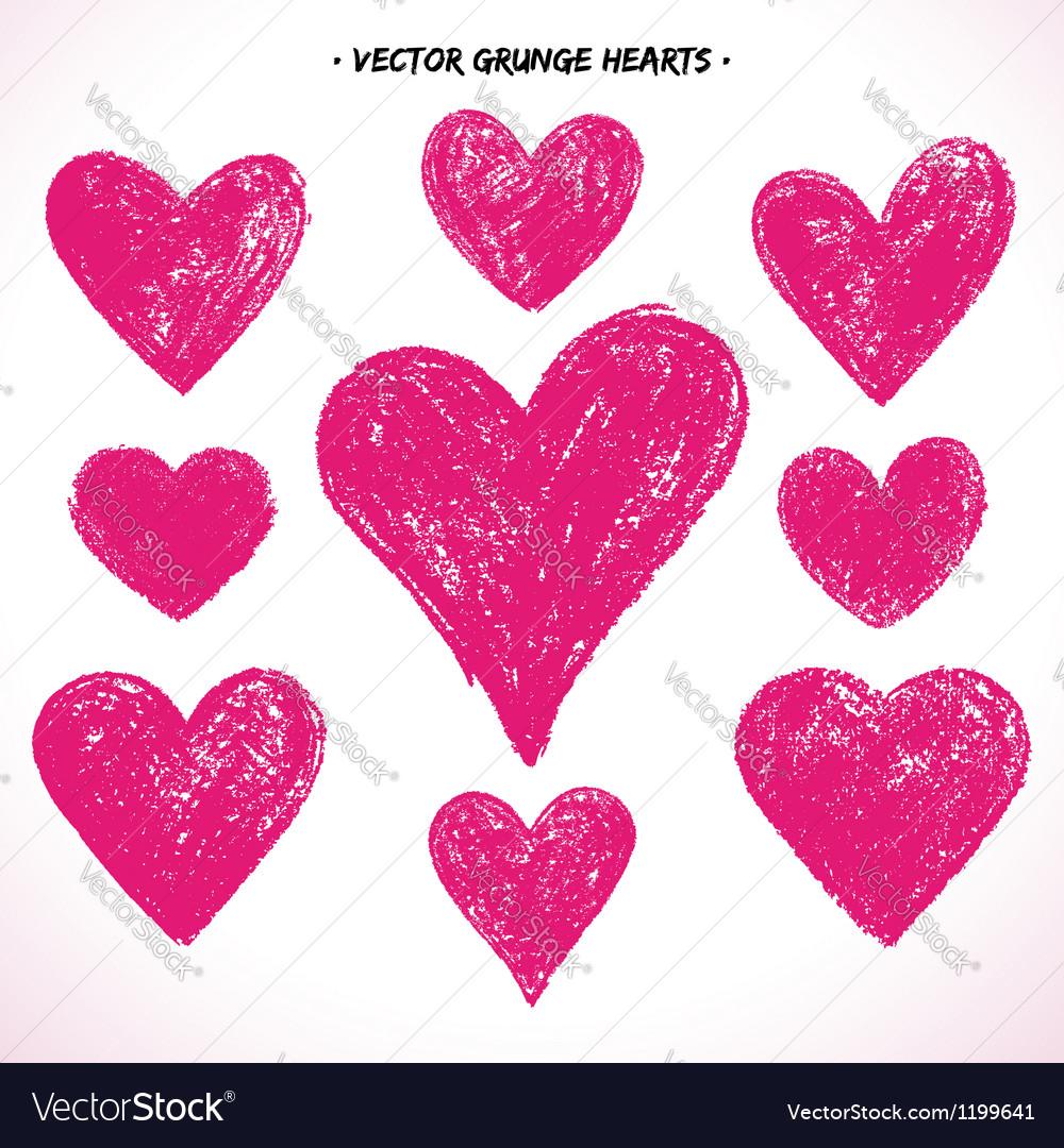 Grunge hearts set vector image