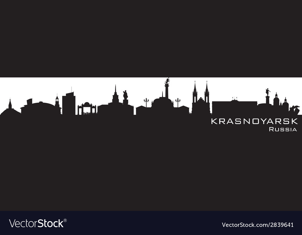 Krasnoyarsk Russia city skyline Detailed silhouett