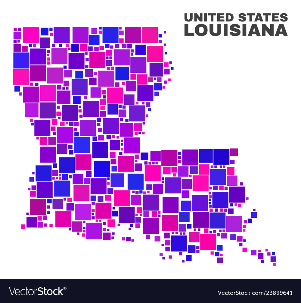 Geographic Map Of Louisiana.Mosaic Louisiana State Map Of Square Items Vector Image