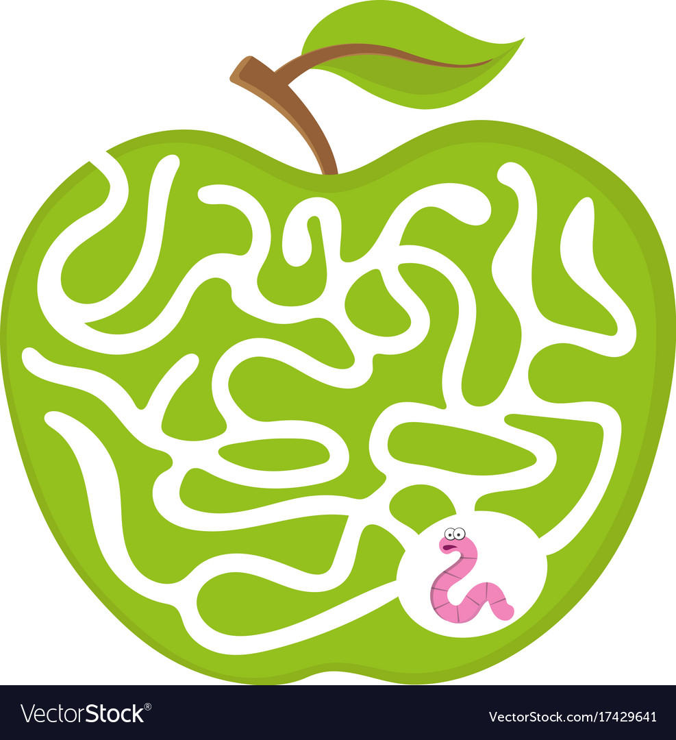 Puzzle maze game for kids worm with apple vector image