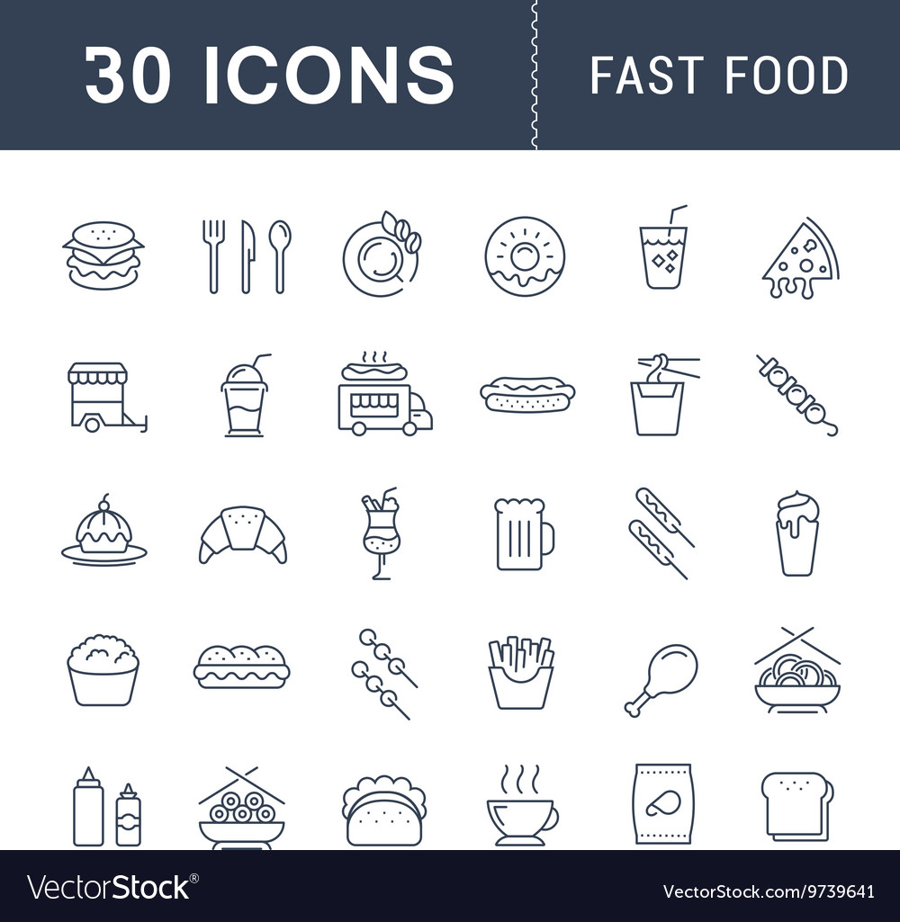 Set Flat Line Icons Fast Food vector image
