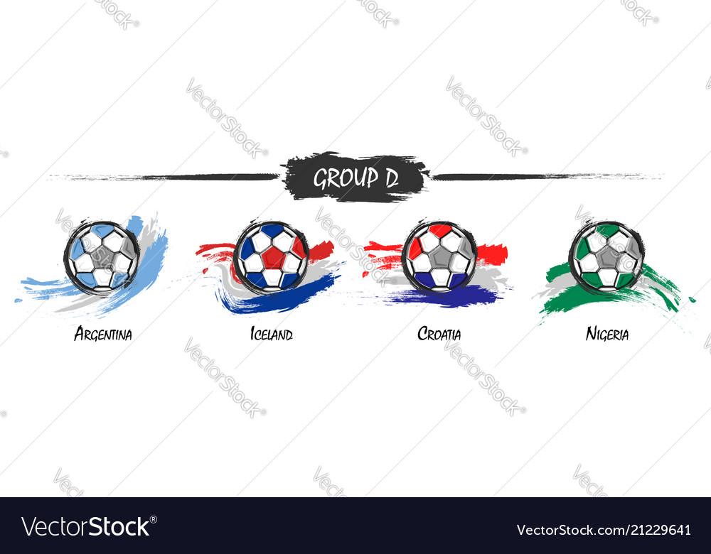 Set of football or soccer national team group d
