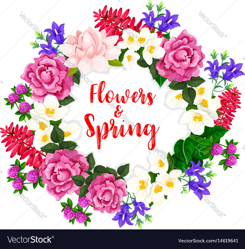 Spring flowers wreath of blooming bouquets vector image
