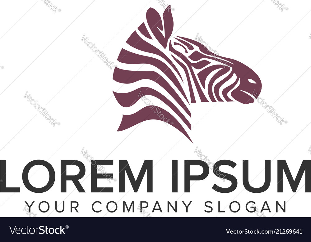 Zebra head logo design concept template