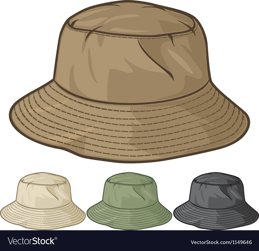 Bucket hat collection Royalty Free Vector Image 48a9e47fbd0