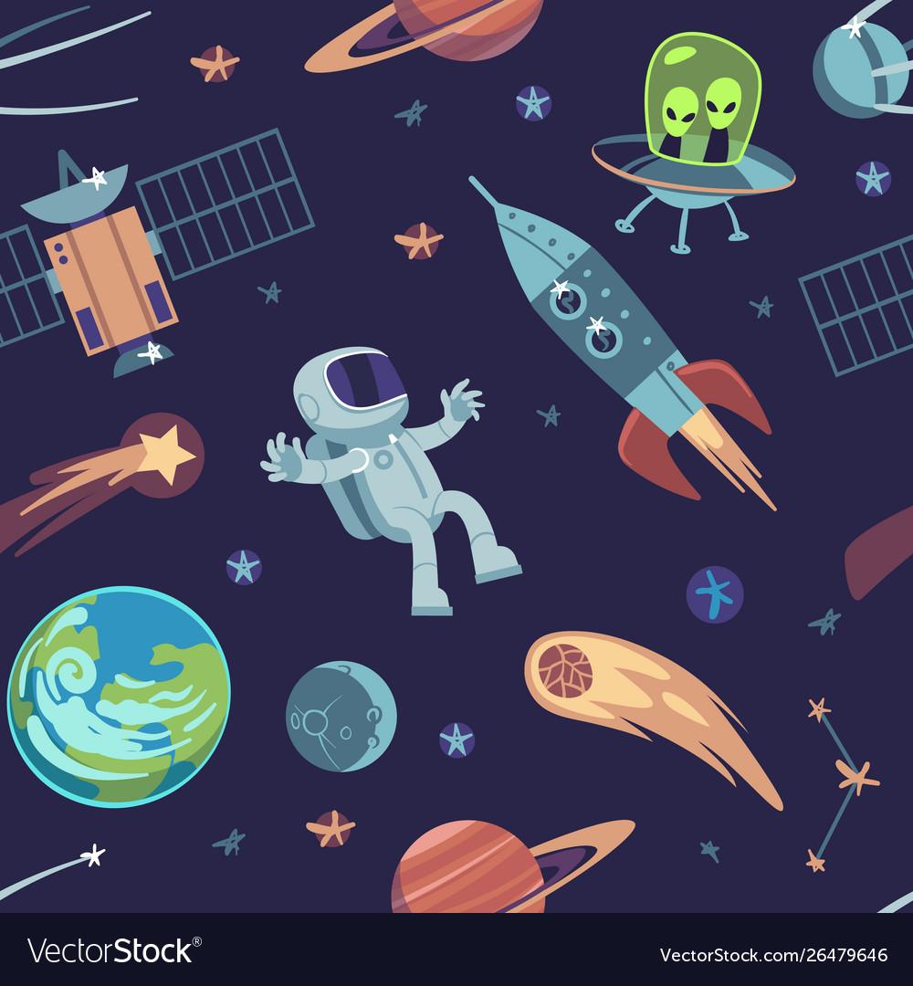 Cartoon space seamless background hand drawn