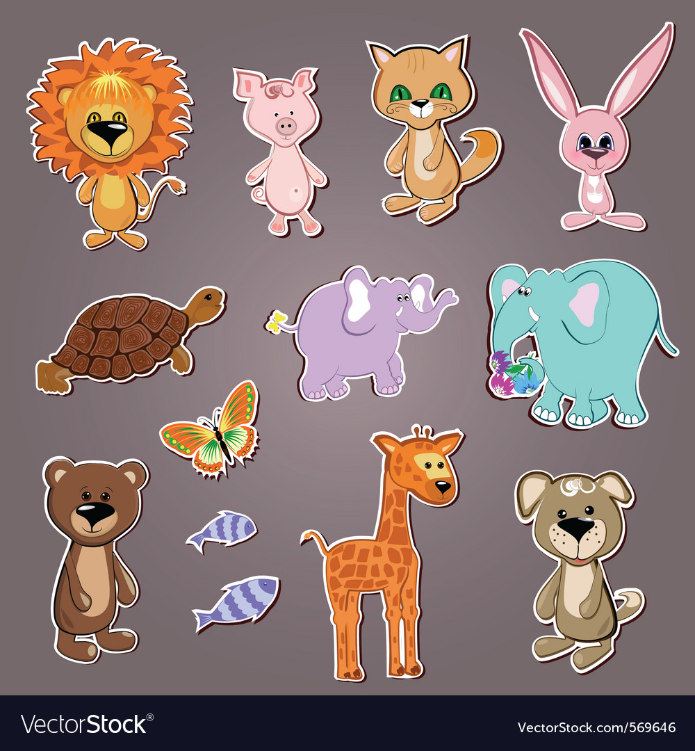 Cartoon zoo animals vector image