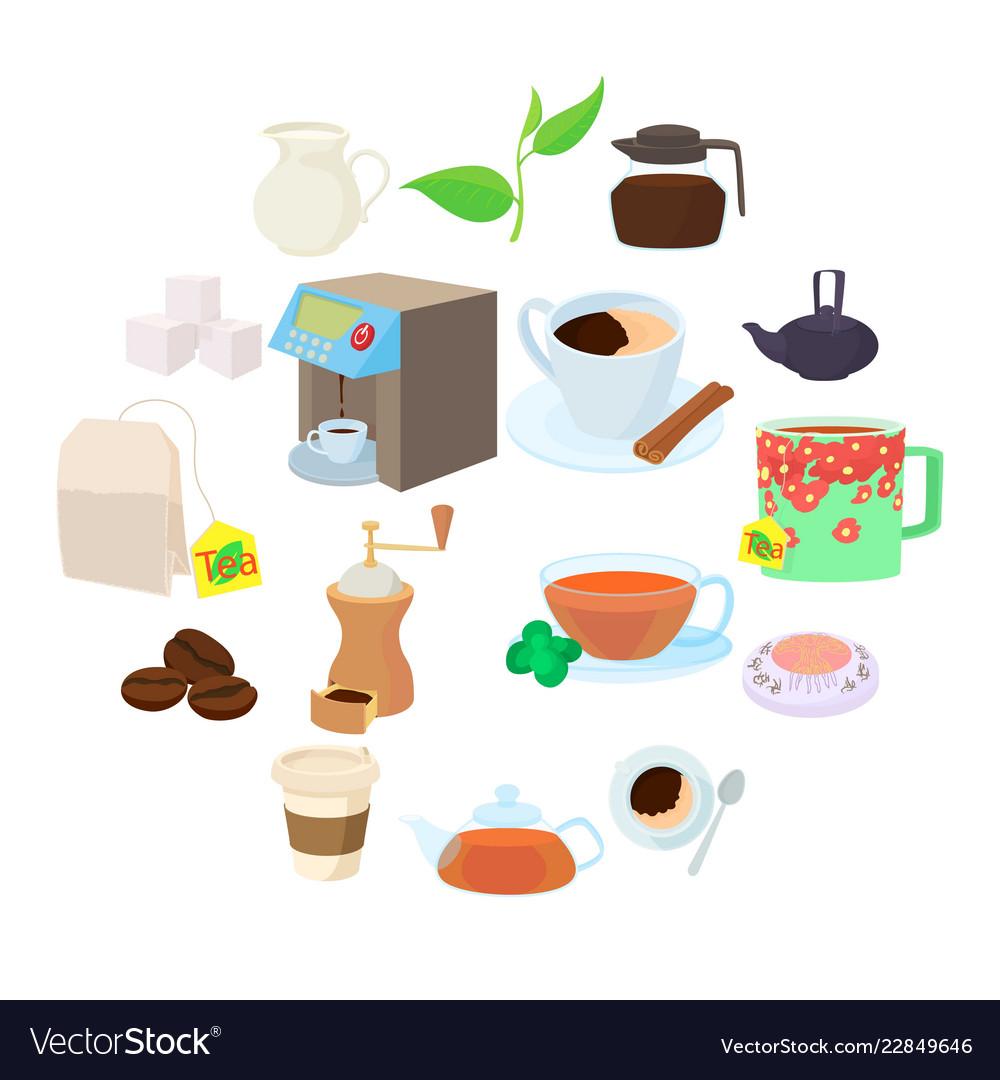 Coffee and tea icons set cartoon style