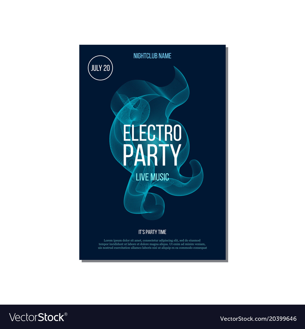 Electro party music invitation poster vector image